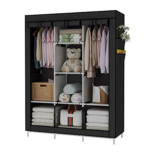 UDEAR Armario de Tela Plegable Ropa Organizador Closet portátil Guardarropa Negro