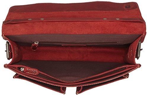 GreenBurry Aktentasche 38*29*14 cm Büffel-Leder Lehrer-Tasche Aktenmappe 1000 rot