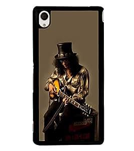 Fuson Designer Back Case Cover for Sony Xperia M4 Aqua :: Sony Xperia M4 Aqua Dual (Guitar Electrical Guitar Black Guitar guitar With Strings Black electrical guitar)