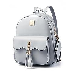 Idea Regalo - Zaino vintage da donna, con nappa, in ecopelle, stile casual, zaino da viaggio, piccolo borsa da scuola per ragazze, Grigio (Grey), S