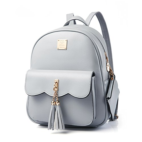 Vintage Tassel Backpack For Teen Girls, Yimoji Pu Leather Small Backpack Travel -4329