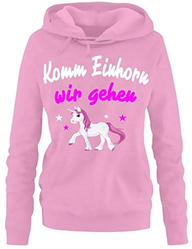Komm Einhorn - wir gehen ! Damen Hoodie - Sweatshirt mit Kapuze Pink, Gr.L