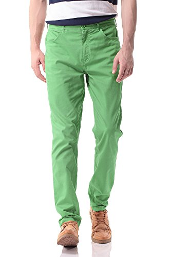 Pau1Hami1ton Herren Chino Hose, Stoffhose Aus Stretch Baumwolle Tapered Fit, PH-17(38, Green) -