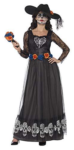 Smiffys 44944X1 - Damen Tag der Toten Braut Kostüm, Kleid, Hut und Bouquet, Größe: 48-50, schwarz (Tote Braut Kostüm Uk)