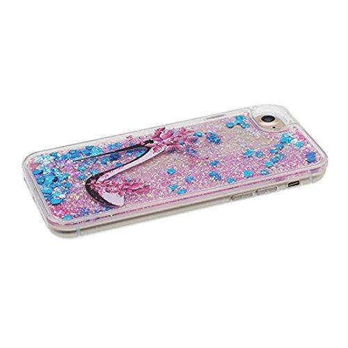 """iPhone 7 Coque, Skin Hard Clear étui iPhone 7, Design Glitter Bling Sparkles Shinny Flowing (Flamant Bird) Apple iPhone 7 Case Cover 4.7"""", résistant aux chocs talon hauts"""