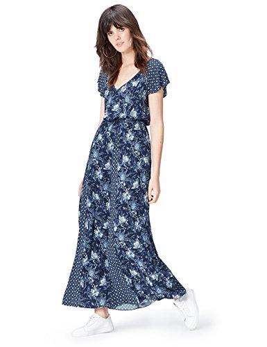 FIND Women's Mixed Print Maxi Dress, Blue, 10 (Manufacturer Size: Small)