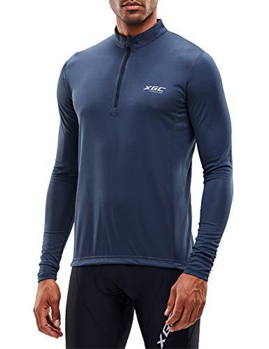 Herren Langarm Radtrikot Fahrradtrikot Radshirt Fahrradshirts Fahrradbekleidung für Männer mit Elastische Atmungsaktive Schnell Trocknen Stoff (Grey, XL)