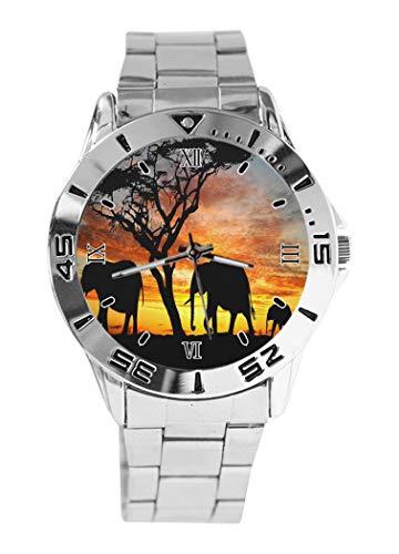 Reloj de Pulsera analógico con diseño de Elefantes Negros y Esfera Plateada...