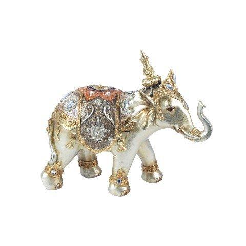 CAPRILO Figura Decorativa de Resina Elefante con Gorro Adornos y Esculturas. Animales....