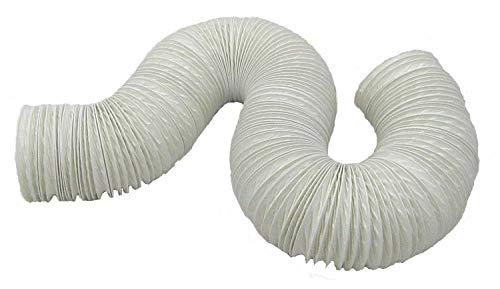 Aktivat 6 m Abluftschlauch Ø 125/127 mm flexibel - max Länge 6 Meter - PVC - weiß - für Mobile Klimageräte, Trockner, Abzugshauben und Anlagen (Fenster Abzugshaube)