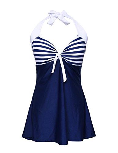 Nonwe Damen Retro Einteiliger Neckholder Badeanzug mit Marine Streifen Rock Bademode mit Shorts Blau