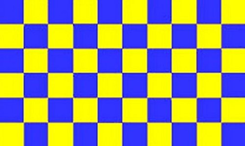 Chequered Blue Yellow Flag 3ft x 2ft