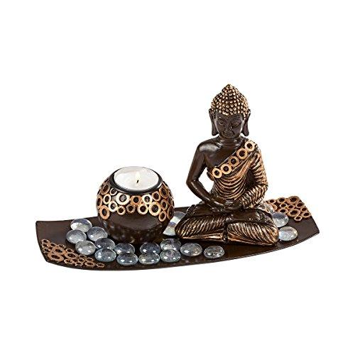 Tri Buddha-Set, spirituelle Dekoration mit Buddha und Teelichthalter