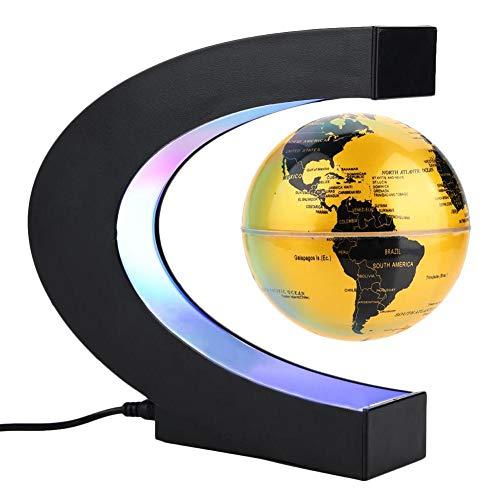 Magnetische schwimmende Kugel, Schwebungsformen, die Weltkarte drehen, mit LED-Lichtern, Erdkugel für Schreibtisch-Dekoration, Weihnachten, Geburtstag, Geschenk UK Plug Golden - Schreibtisch Geschenke Lehrer