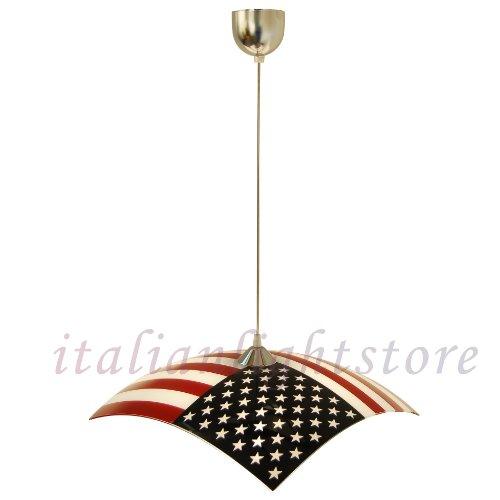 Sospensione Lampadario Bandiera Americana Design Moderno Cameretta Cucina - Collezione American Dream -Illuminazione Interni.