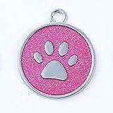 Aluminiumlegierung Cute Footprint Pet Tag Schöne Hundegeschirr Identitätskarte Anti-verlorene Rahmen Karte Cute Pet Zubehör - rose red