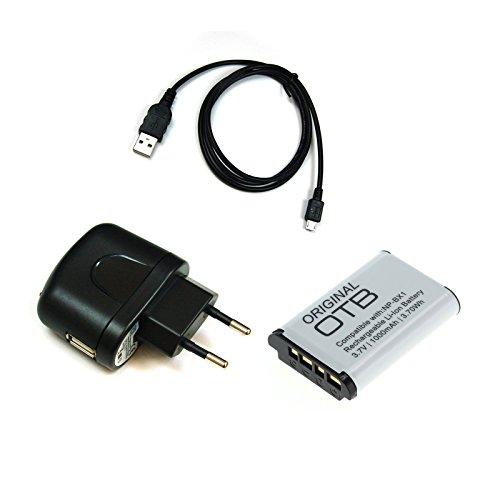 bg-akku24 Ladegerät, Akku und Ladekabel, Datenkabel, USB-Kabel für Sony Cyber-shot DSC-HX50, DSC-HX50V, DSC-HX60, DSC-HX60V, DSC-HX80, DSC-HX90, DSC-HX90V, DSC-HX300, DSC-WX300, DSC-WX350, DSC-WX500