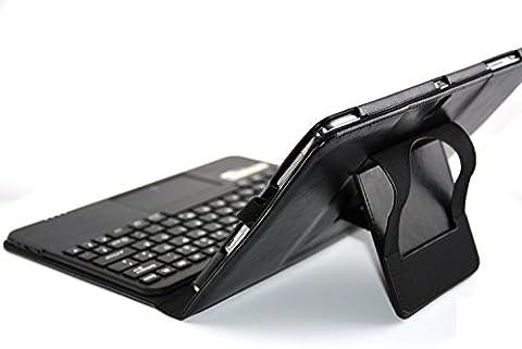 MQ pour Galaxy Tab Pro 10.1 - Housse avec clavier et pavé tactile intégré pour Samsung Galaxy TabPRO 10.1 | Etui avec clavier Bluetooth et pavé tactile pour Samsung Galaxy Tab Pro 10.1 4G LTE SM-T525| Clavier français (AZERTY) et pochette pour Galaxy Tab Pro 10.1 WiFi SM-T520 | Noir