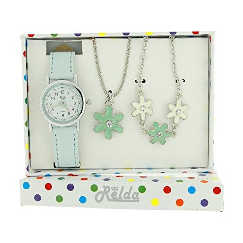 Relda Kids Blue Flower Jewellery, Watch, Necklace, Bracelet Girls Gift Set REL25