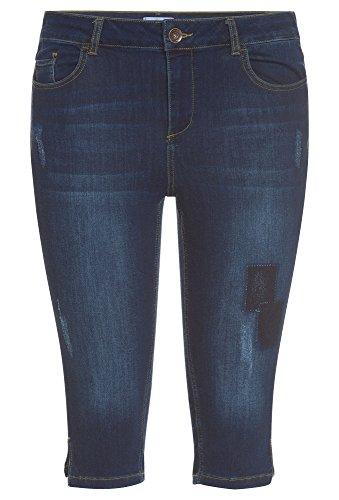 PEPPERMINT Plus Size - modische Caprijeans, Damen Große Größen,Frauen,Shorts,hose,kurz,Sommer dunkelblau,46 (Jeans-shorts Plus Size)