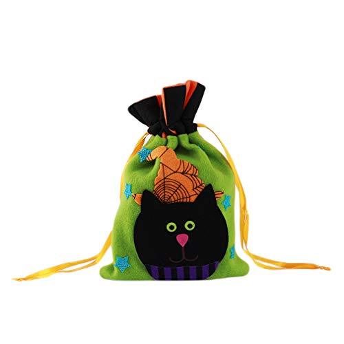 henktüten mit Kordelzug, Süßigkeitentüte, Halloween-Dekoration, Geschenktüte, Halloween-Tote, Trick- oder Leckerli-Tasche, Stoff, Katze, 27 * 14cm ()