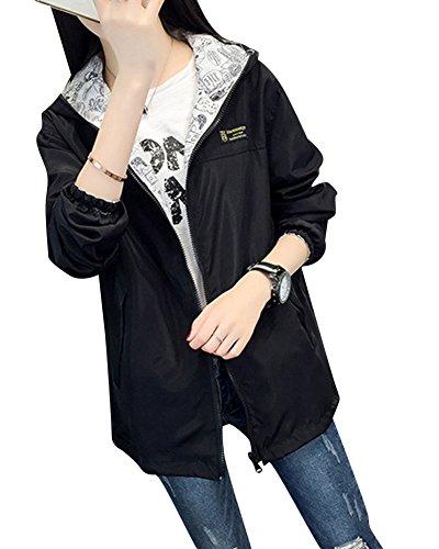 Femme À Capuche Trench Coat Automne Avec Poche Outwear Fermeture Éclair Veste Noir L