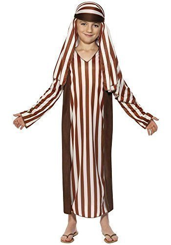 Bambini ragazzi marrone pastore di Natale Natività costume travestimento 4–12anni