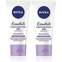NIVEA Soin de Jour Essentials 24H Hydratant +Apaisant (2 x 50 ml), crème hydratante visage et corps, soin femme & homme aux Pépins de Raisin et Réglisse