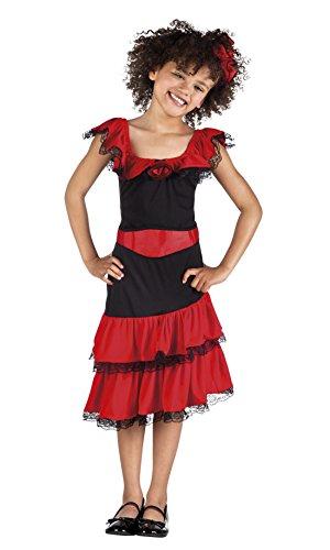 Halloweenia - Mädchen Flamenco Tänzerin Kostüm, Karneval, Fasching, Rot, Größe 122-134, 7-9 Jahre