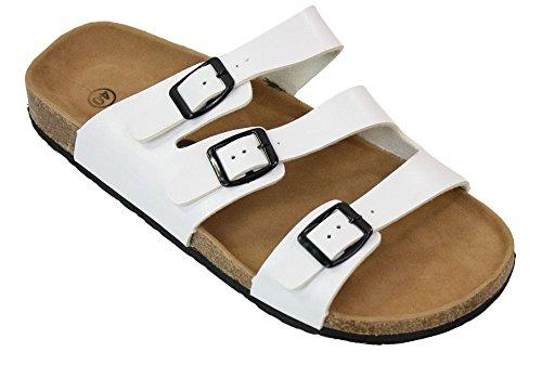 Herren Sandalen Weiß Sommer Leder Optik Strand Lässig Weiß