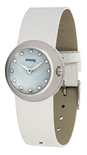 Moog Paris Zoom Women's Watch with White Mother of Pearl Dial, White Genuine Leather Strap & Swarovski Elements - M45381-402