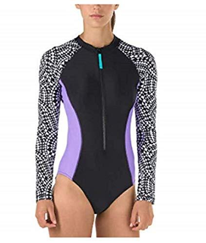 Speedo Tankini Nylon (Speedo Damen Langarm-Badeanzug mit geometrischem Druck, UV-50+ Sonnenschutz - Schwarz - Large)