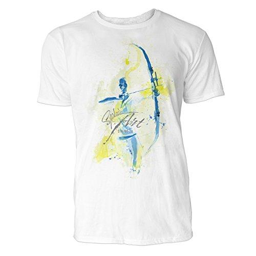 al Sinus Art ® Herren T Shirt ( Weiss ) Crewneck Tee with Frontartwork (Pfeil Anzug-kollektion)