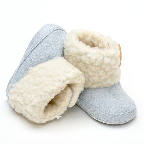 De Bouton en peluche hiver chaussons - Bleu - bleu, 6-12 mois Bleu - bleu