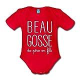 Spreadshirt Beau Gosse De Père en Fils Body bébé Bio Manches Courtes, 74 (6-9 Mois), Rouge