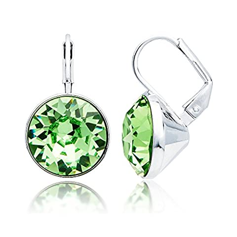 MYJS Bella Drop Earrings Rhodium Plated with Peridot Swarovski Crystals Exclusive Limited Edition