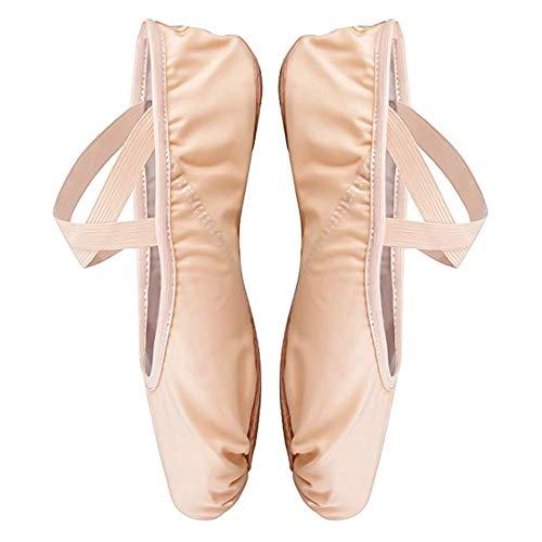 hellomagic Ballettschuhe Elastische Ballettschläppchen Gymnastikschuhe Yoga-Schuhe für Mädchen und Erwachsene in den Größen 34-38(34 Nude)