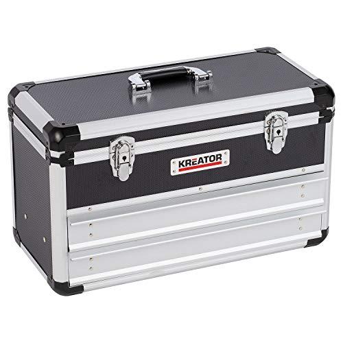 Kreator Werkzeugkoffer mittelgroße Werkzeugkiste KRT640602B mit 2 Schubladen 52,5 x 24 x 30,5 cm