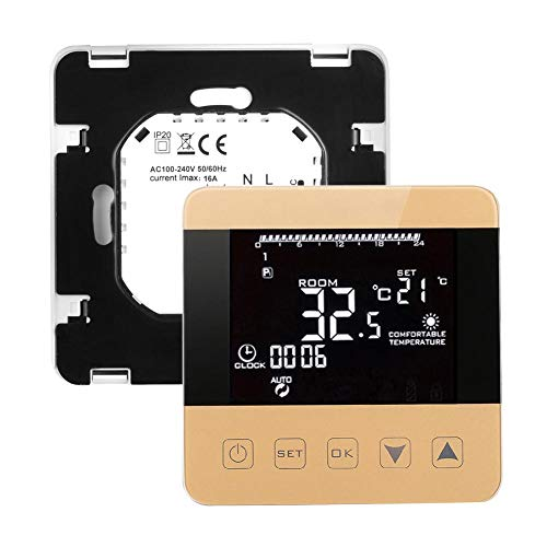 Asiproper Thermostat, digital, LCD WiFi, Alexa, Temperaturregler, Heizung Electric,gold Echo-serie-display