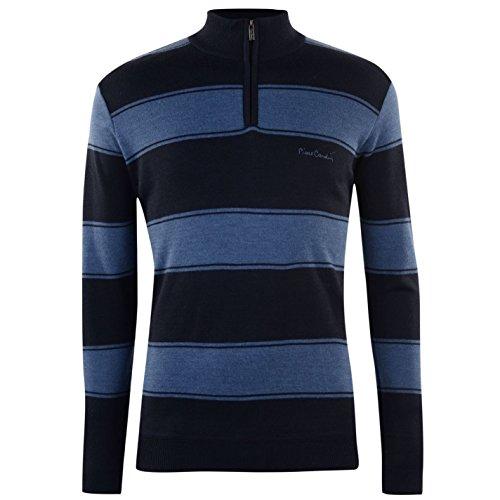Pierre Cardin Herren Pullover 1/4 Reißverschluss Langarm Blau/blau XL (Top Neck Knit Funnel)
