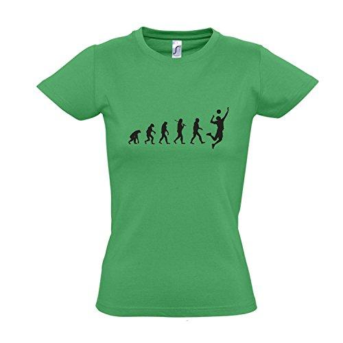 Damen T-Shirt - EVOLUTION - Volleyball Sport FUN KULT SHIRT S-XXL , Kelly green - schwarz , L