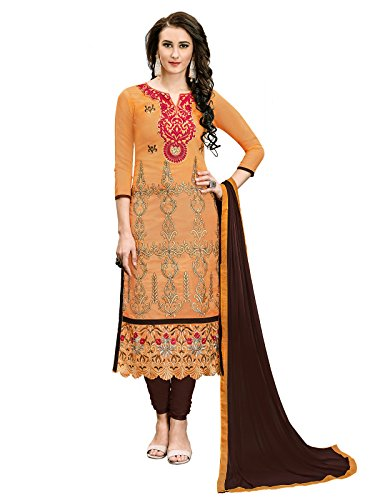 VARAYU Women's Chanderi Zari and Thread Embroidery Semi Stitched Salwar Suit(Yellow,644DJ6002)