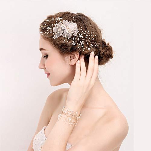 roroz Koreanische goldene Braut Hochzeit Haarspange, Braut Kopfschmuck Armband Sets, kleine frische Diamant Blume Zubehör Side Clip, Hochzeitskleid Zubehör,Gold