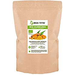 MeaVita Cúrcuma Orgánica, polvo de raíz de cúrcuma molido, paquete de 1 (1 x 1 kg)