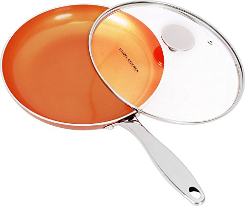 Induction Bottom 9.5 Inches Copper Nonstick Frying Pan with Glass Lid and Stainless Steel Handle - Multipurpose Use for Home Kitchen and Restaurant - by Utopia Kitchen