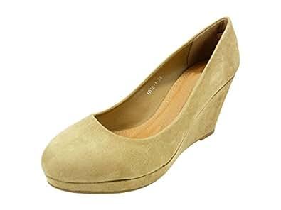 Escarpin, chaussure femme compensée talon haut et plateforme velours Beige - T 41