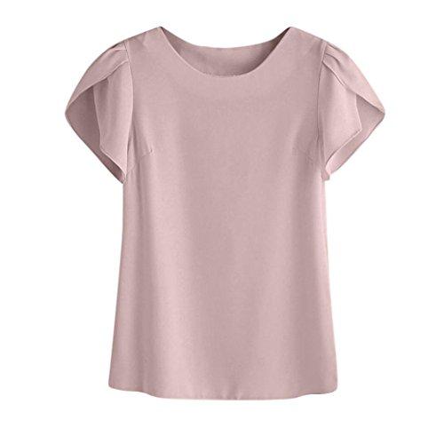 maglietta da donna elegante  feixiang ® t-shirt camicetta estiva donna manica corta casual camicetta girocollo t-shirt maglia sexy tank tops camicia da donna chiffon vestiti (rosa, s)