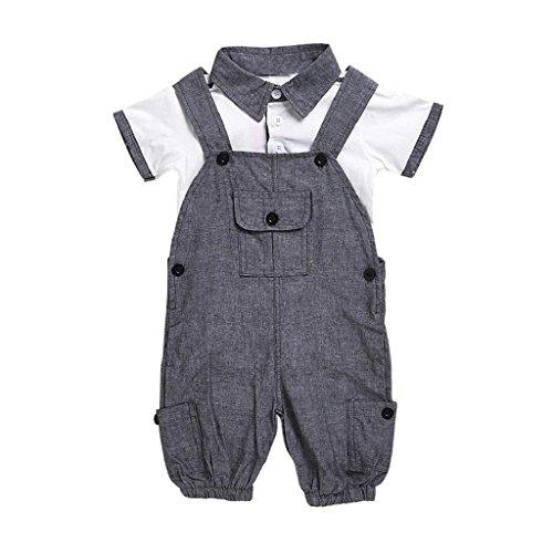 Bekleidung Longra Neugeborenes Baby Jungen Sommer Kleidung Kurzarm Baumwolle T-shirt + Overall Strampler Jumpsuits baby Set (0 -24 Monate) (70cm 3Monate, Gray) (Neugeborene Jungen Kleidung Elch)