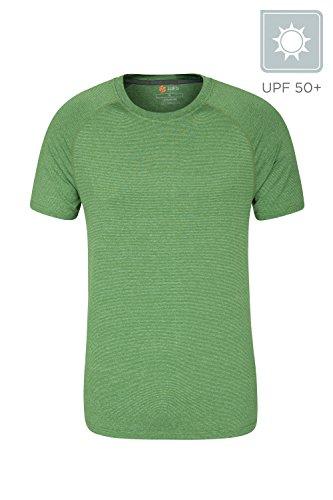 Mountain Warehouse Agra Gestreiftes IsoCool Herren-T-Shirt - Hemd mit LSF30+, Leichtes T-Shirt, schnelltrocknend, Atmungsaktives Oberteil - Ideal zum Reisen, Wandern Grün X-Small