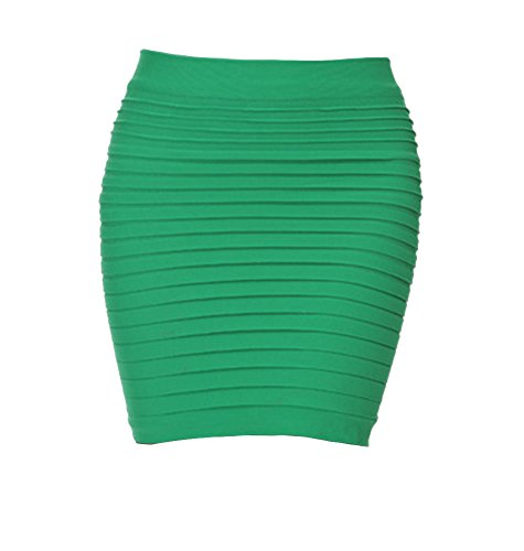 Moollyfox Femme Sexy Mini Jupes Extensible Collant Sans Joints Herbe Vert